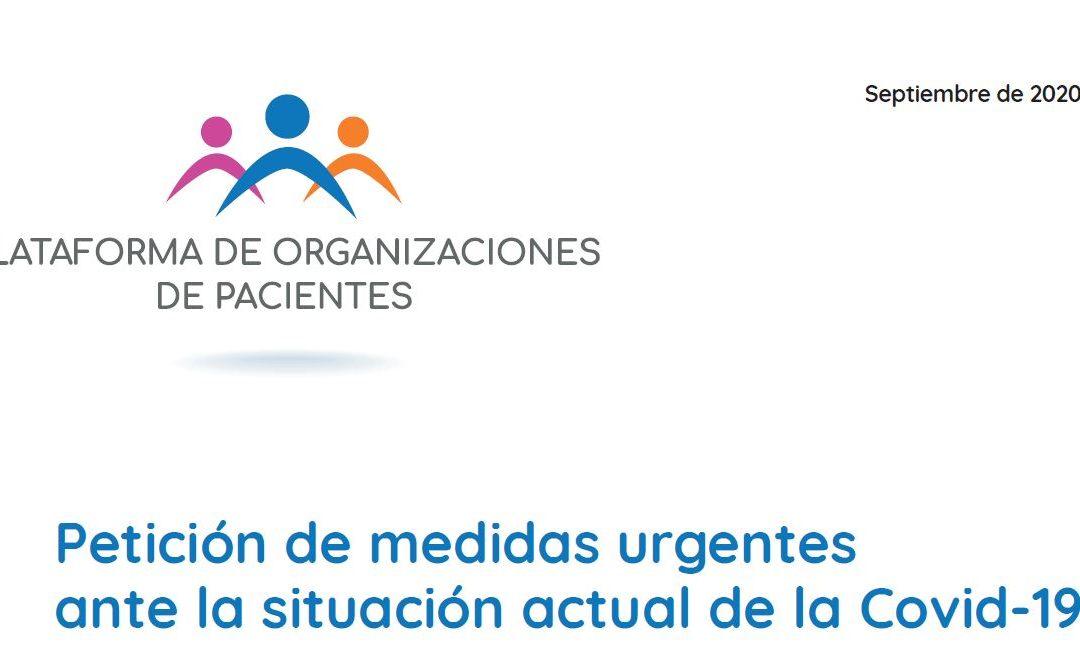 La Plataforma de Organizaciones de Pacientes reitera la necesidad de establecer medidas urgentes de protección de las personas con enfermedades o síntomas cronificados