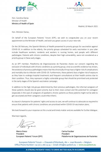 El Foro Europeo de Pacientes ha mostrado su preocupación ante la vacunación de los pacientes crónicos en España
